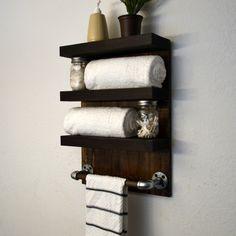Bathroom Towel Bar 3 Tier Bath Storage Floating Shelf Hotel Style Rack Cast Iron Dark Walnut by RusticModernDecor on Etsy https://www.etsy.com/listing/191572652/bathroom-towel-bar-3-tier-bath-storage