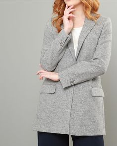 A luxurious grey herringbone boyfriend style blazer, this beautiful fabric is designed and woven in our mill in Donegal, Ireland. A great office staple.