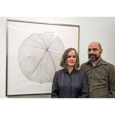 "Montserrat Faculty & Alumni Stacy & Len Thomas-Vickory with Stacy's piece, which will be up for bid in our #Artrageous29 LIVE portion of the auction. ""Chinese Lantern"" 2012, Graphite, 48 x 48 inches"
