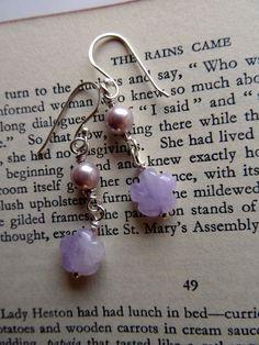 Amethyst flower earrings, hand carved lavender gemstone flowers, lilac shell pearl dangles, February birthstone, boho bridesmaid, summer, UK - pinned by pin4etsy.com
