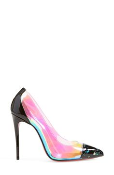 The iridescent finish of these Louboutins adds eye-catching modern glamour to a perfectly poised pointy-toe pump.