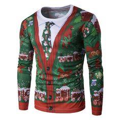 Long Sleeve 3D Christmas Tie Costume Faux Twinset Print T-Shirt