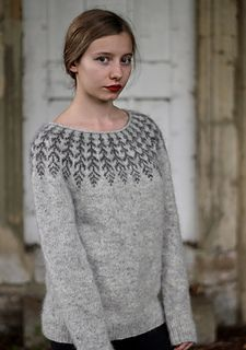 A top-down Icelandic-inspired stranded yoke sweater. This pullover is worked seamlessly from the top down, starting with a simple rolled neckline. The yoke is knit in stranded color work, then short row shaping is added to the back of the sweater to shape Free Knitting Patterns For Women, Knitting Designs, Knit Patterns, Icelandic Sweaters, Vogue Knitting, Feather Pattern, How To Purl Knit, Fair Isle Knitting, Cool Sweaters