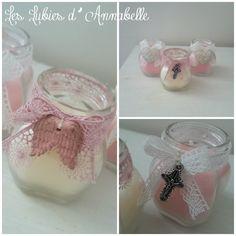 Lot de 3 bougies Shabby Chic parfumées rose et vanille