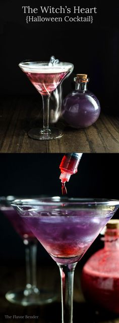 The Witchs Heart - This shimmery Purple and Red cocktail is the perfect halloween cocktail or party cocktail! Easy to make and tastes delicious! More halloween coctails Cocktails Halloween, Red Cocktails, Holiday Drinks, Cocktail Drinks, Fun Drinks, Yummy Drinks, Cocktail Recipes, Beverages, Viniq Drinks