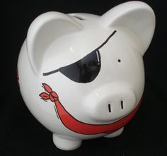 Personalized Pirate Bank by Dizigns on Etsy Pottery Painting, Ceramic Painting, Pig Bank, Personalized Piggy Bank, Paint Your Own Pottery, Cute Piggies, This Little Piggy, Money Box, Camping Crafts