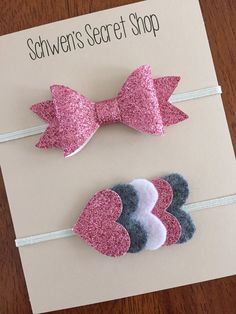 glitter felt headbands, heart felt headband, pink white and grey headband
