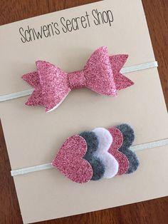 glitter felt headbands, heart felt headband, pink white and grey headband
