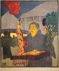 """✨ Martha Cunz, Swiss (1876-1961) - Auf der Messe, 1905, Farb Holzschnitt, in Bleistift signiert: bezeichnet """"Handdr. No. 22"""", im Stock monogrammiert 36,8 x 31,7 cm ::: At the Fair, Colour Woodcut"""