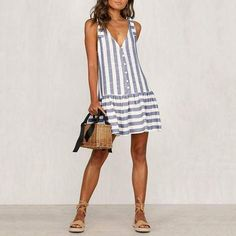 V Neck Stripe Off-Shoulder Single-Breasted Dress The v neck stripe off-shoulder single-breasted dress with sleeveless is a good choice of fashion and it suits many occasions like date, holiday, daily life and so etty casual dresses,dress ideas casual,fal Formal Dresses For Teens, Cute Casual Dresses, Casual Dress Outfits, Modest Dresses, Summer Dresses, Party Outfits, Elegant Dresses, Pretty Dresses, Sexy Dresses