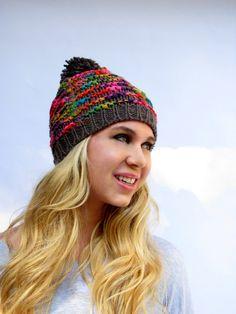 SALE Womens Hat Knit Gray Multi Color Confetti Pom by SWAKCouture