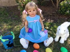 Sunday's Child with her white bunny would like to wish everyone who loves dolls a Happy Easter. Monika Levenig doll. From Linda in Florida