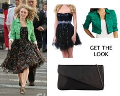 Carrie Diaries Pilot: Carrie Bradshaw's (AnnaSophia Robb) Scaasi multicolor party dress, Forever 21 clutch and H green cropped jacket #getthelook #carriediaries