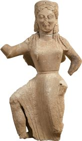 """Marble statue of Nike, found on Delos, Cyclades. ca. 550 BC - """"In Greek mythology, Nike (Greek: Νίκη, """"Victory"""", pronounced [nǐːkɛː]) was a goddess who personified victory, also known as the Winged Goddess of Victory. The Roman equivalent was Victoria.""""[wikipedia]"""