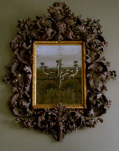 MAGNIFICENT CARVED AND PAINTED MIRROR, MANNER OF ANDREA BRUSTOLON Venice circa 1700 | Carlton Hobbs Old Frames, Art Decor, Wood Framed Mirror, Mirror Photo Frames, Mirror Painting, Frame, Carving, Mirror Wall, Mirror
