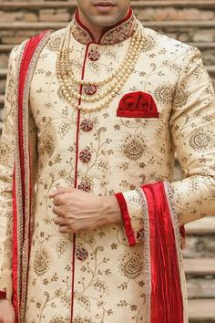 Traditional Indian jodhpuri sherwani collection online for wedding, sangeet and festive occasions. choose from latest designer shervani designs to buy sherwani online. Sherwani For Men Wedding, Wedding Dresses Men Indian, Sherwani Groom, Punjabi Wedding, Desi Wedding, Indian Weddings, Farm Wedding, Boho Wedding, Wedding Reception
