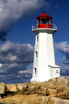 Lighthouse on Peggy's Point, Peggy's cove, Nova Scotia, Canada. Nova Scotia, Lighthouse Lighting, Lighthouse Art, New Brunswick Canada, Lighthouse Pictures, Atlantic Canada, Beacon Of Light, Prince Edward Island, Largest Countries