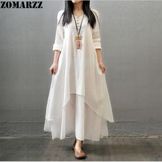2017 Summer Autumn Women Cotton Linen long Dresses Casual Loose Retro Solid  Fashion Vintage Original Dress Plus Size 4XL 5XL