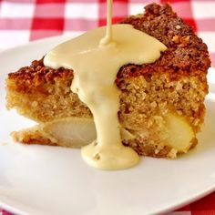 Pear Almond Cake with Creme Anglaise. A wonderfully moist and nutty flavoured cake with sweet pears baked right in and served with warm Creme Anglaise custard. A superb Autumn comfort food dessert. Just Desserts, Delicious Desserts, Dessert Recipes, Yummy Food, Fall Desserts, Fruit Recipes, Dessert Ideas, Tasty, Pear And Almond Cake