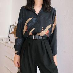 design of blouse Harajuku Vintage Flying Cranes Blouse Subtle Asian Fashion Harajuku Fashion, Japan Fashion, Look Fashion, Runway Fashion, Autumn Fashion, Fashion Outfits, Womens Fashion, Fashion Ideas, Harajuku Style