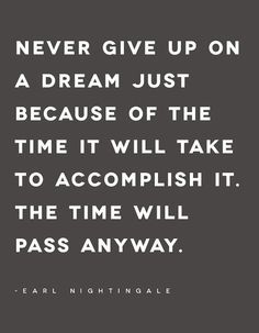 Never give up on a dream...the time will pass anyway.