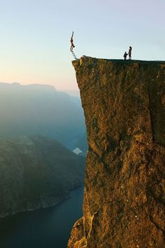 Prekestolen, Lysefjorden, Rogaland, Norway.   This gives me goose bumps!   No way!