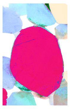 Little Blooms-4x6-Small Fine Art Print-Signed-Modern Art Print-Pink-Blue-Lilac-Hot Pink-Cream-Minimalist-Summer-Garden-Flowers