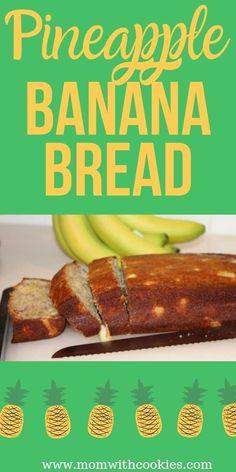A tropically delicious pineapple banana bread recipe. Banana Bread Brownies, Banana Nut Bread, Chocolate Chip Banana Bread, Pineapple Banana Bread Recipe, Banana Bread Recipes, Pineapple Desserts, Best Nutrition Food, Nutrition Articles, Proper Nutrition