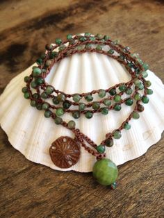 "Surfer Chic Crochet 4x Wrap Jade Bracelet, Necklace, Anklet, Brass Sand Dollar ""Summer Beach Surfer Chic"""