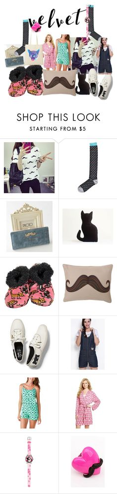 """""""meowing mustache"""" by lerp ❤ liked on Polyvore featuring Bags 'n Sacks, Lazy One, Keds, Leisureland and Munki Munki"""