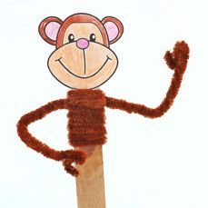 Monkey Stick Puppet. Any monkey stories for #storytime?