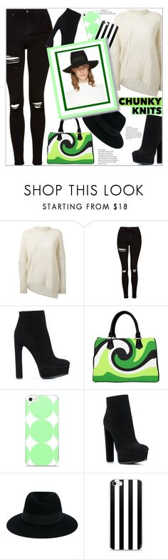 """""""Fall Sweaters"""" by atelier-briella ❤ liked on Polyvore featuring STELLA McCARTNEY, Topshop, Casadei, Maison Michel, booties, Fedora, iPhonecases, totebag and chunkyknits"""