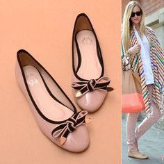 Color Bow Circle Head Light Flat Shoes