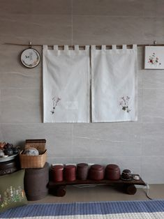 광목가리개 : 네이버 블로그 Noren Curtains, Cafe Design, Stitch Design, Fabric Decor, Home Deco, Embroidery Stitches, Tapestry, Mobiles, Crafty