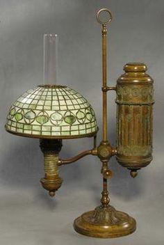 Exceptional Antique Kerosene Lamps Value   Lighting, New York, A Tiffany Kerosene  Single Student Lamp