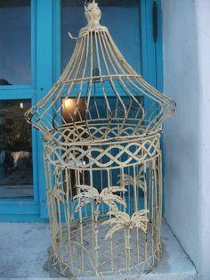 VINTAGE BIRDCAGE white shabby chic beach house by BinkyLovecat, $95.00