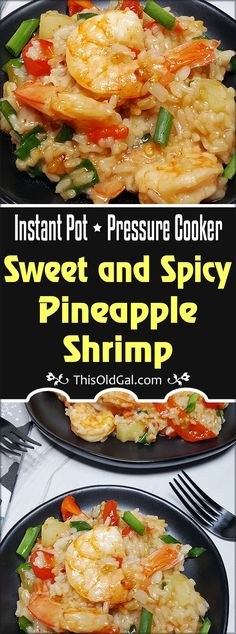 The beauty of this Pressure Cooker Sweet and Spicy Pineapple Shrimp recipe is that you can turn it into a Risotto or Rice dish, or, use Quinoa for a higher protein, lower carb meal! via This Old Gal Shrimp Dishes, Shrimp Recipes, Rice Recipes, Healthy Recipes, Recipies, Asian Recipes, Instant Pot Pressure Cooker, Pressure Cooker Recipes, Pressure Cooking