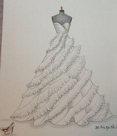 Custom wedding dress sketch wedding gown illustration by Zoia, $55.00