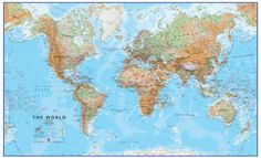 Huge World Wall Map (Physical) This huge world physical wall map is the largest single sheet map we have available. The map focuses on representing the natural terrain of the earth rather than on the country (political) boundaries although countries are marked and borders shown. The map contains hill and sea shading to give the map depth and helps the identification of mountain ranges, plains and forest areas quickly and easily. Price from £42.00 #Map #World