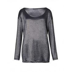 T-shirt maniche lunghe, over, in viscosa rigata effetto bagnato.3A1ZL112Y GREY