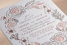 Botanical Wreath Letterpress Wedding Invitations... | Minted