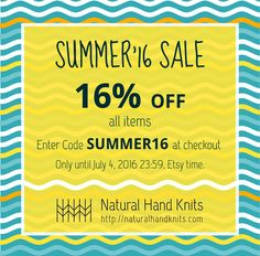 SUMMER'16 SALE! Use the promo code SUMMER16 at checkout and get 16% off all items. Only until July 4, 2016 23:59, Etsy time. TAGS:  #summersale #promocode #discount #sale #projectbag #knittingprojectbag #knitting #sewing #knittersofinstagram #sewersofinstagram #knittingbag #knittingtote #yarnbag #sheepbag #tricotsac #zipperedpouch #espadrilles #semelles #espadrillas #soles #espadrillesoles #jute #jutesoles #juteshoes #sandals #hempcord #sewingpattern #espadrilleskit #sohlen #alpargatas