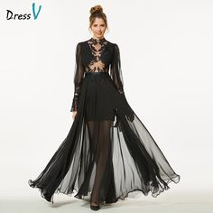 Dressv elegante nero lungo prom dress maniche lunghe semplice a-line scoop  neck button appliques 8c60af4a694