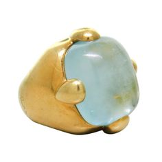 Large Pomellato Aquamarine Gold Ring | From a unique collection of vintage more rings at http://www.1stdibs.com/jewelry/rings/more-rings/