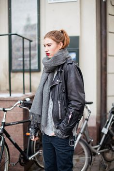 leather jacket, red lip, grey scarf