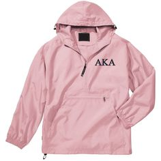 Alpha Kappa Alpha Unlined Anorak (Pink) ($36) ❤ liked on Polyvore featuring outerwear, jackets, tops, black, unisex adult clothing, sweater pullover, zipper jacket, light weight jacket, anorak coat and lightweight anorak jacket