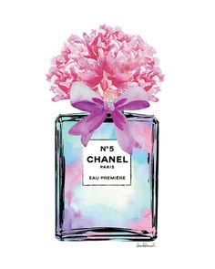 Chanel Watercolor bottle bow Peony peonies Mint by hellomrmoon                                                                                                                                                                                 More