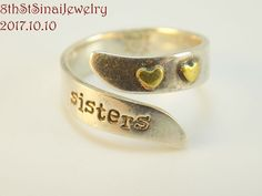 FAR FETCHED Sterling Silver 925 SISTERS w/ 2 Brass HEARTS Band Ring Size 7 #FarFetched #Band