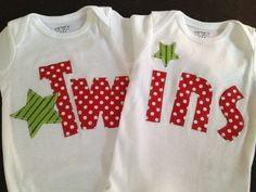 christmas twins onesies, great for Boy/Girl twins