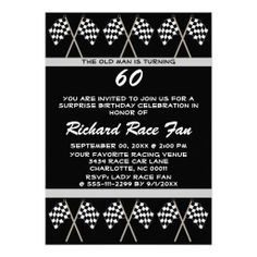 Checkered Flag Race Surprise Funny Birthday Party Personalized Invitation Your friends will love this funny checkered flag racer surprise birthday party invite. Personalize this unique celebration invitation for your car or motorcycle race fan, driver or coaches big over the hill birthday party bash! This invite features a background checkered flag pattern with white text and a black background. Great for any party Great for a 20th , 30th , 40th , 50th , 60th , 70th birthday or any other…